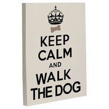 Doggy Decor Keep Calm and Walk the Dog Textual Art on Canvas