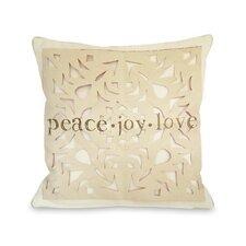 Peace Joy Love Paper Snowflake Pillow