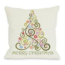 Holiday Merry Christmas Whimsical Tree Pillow