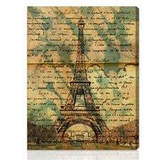 """Eiffel Words"" Graphic Art on Canvas"