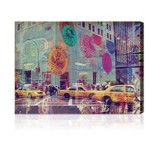 """NYC Fashion Taxi"" Graphic Art on Canvas"
