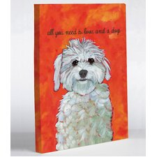 Doggy Decor Love and A Dog Graphic Art on Canvas