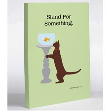 <strong>OneBellaCasa.com</strong> Stand For Something Cat Canvas Wall Decor