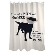 <strong>OneBellaCasa.com</strong> Doggy Decor All Fun and Games Polyester Shower Curtain