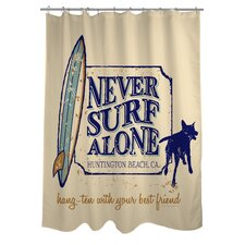 Doggy Decor Never Surf Alone Polyester Shower Curtain