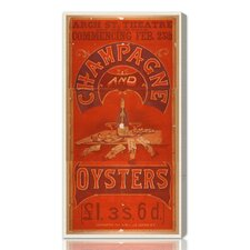 ''Champagne and Oysters'' Vintage Advertisement on Canvas