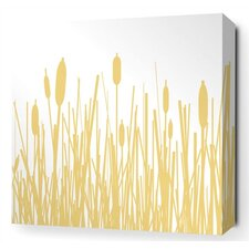 Cattails Stretched Wall Art in Sherbet