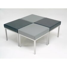 Rectangular Stool with Silver Frame