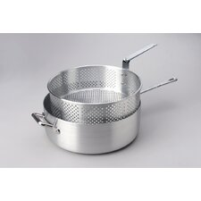 Deep Fryer with Long Fry Pan Handle and Punched Aluminum Basket