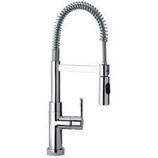 J25 Kitchen Series Single Hole Kitchen Faucet with Spring Spout and Two Function Commercial Sprayer