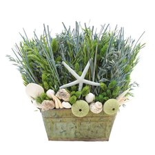 <strong>Urban Florals</strong> Summer Ocean Potion Grass in Rectangular Wood Planter