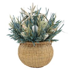 Summer Sea Glass Coastal Grass in Round Basket
