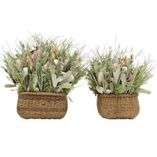 <strong>Urban Florals</strong> 2 Piece Summer Beachy Keen Desk Top Plant in Basket