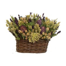 Purple Artichoke Heaven Table Top Basket Wreath