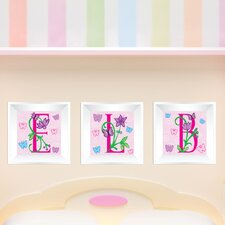 3 Piece Butterfly Letters Picture Frame Wall Decal Set