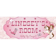 Cowgirl Name Sign Wall Mural