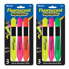 Fluorescent Highlighter with Grip (Set of 3)
