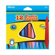 <strong>Bazic</strong> 12 Color Dual Tip Triangle Plastic Crayon Set