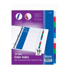 <strong>Bazic</strong> 3-Ring Binder Dividers with 10 Color Tabs