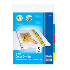 <strong>Bazic</strong> 3-Ring Binder Divider with 5-Insertable Color Tabs