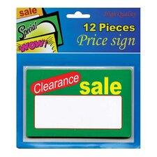 12 Ct. Clearance Sale Price Sign (Set of 24)