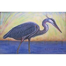Coastal Blue Heron Outdoor Wall Hanging