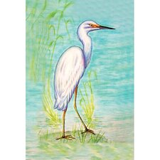 Snowy Egret Vertical Flag