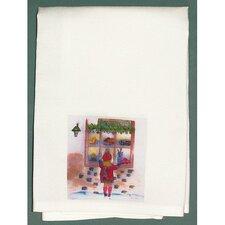 Holiday Girl at Window Hand Towel