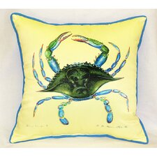 <strong>Betsy Drake Interiors</strong> Coastal Female Crab Indoor / Outdoor Square Pillow