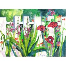 <strong>Betsy Drake Interiors</strong> Garden Fence and Flowers Outdoor Wall Hanging