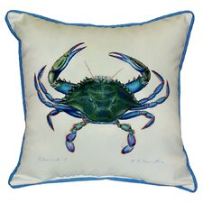 <strong>Betsy Drake Interiors</strong> Coastal Male Crab Indoor / Outdoor Square Pillow