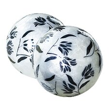 Capiz Floral Decorative Ball (Set of 2)