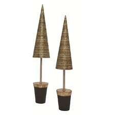 Banded Horizontal Dots Topiary Tree (Set of 2)