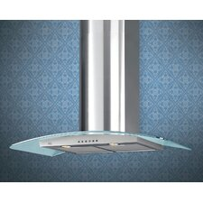 "36"" 600 CFM Glass Canopy Chimney Wall Hood"