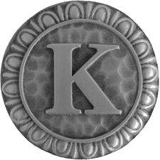 "Jewel Initial Letter K 1.375"" Round Knob"