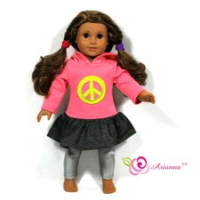 "Peace Hoodie Dress for 18"" American Girl Doll"