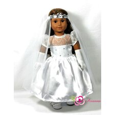 "First Holy Comunion 3 Piece Doll Dress Set for 18"" American Girl Doll"