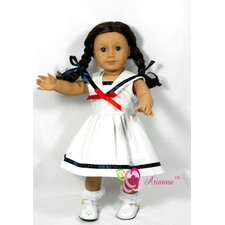 "Sailor's Sweetheart Doll Dress for 18"" American Girl Doll"