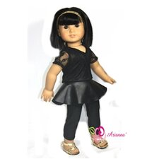 "Leather N Lace Peplum Outfit Fits 18"" American Girl Doll"