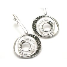 Modern Marcasite Circle Cut 40 Marcasite Earrings