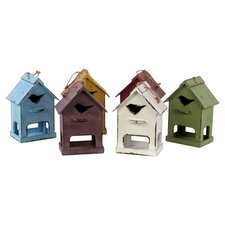 Wooden Bird House Set of Six-Assorted Colors (Set of 6)