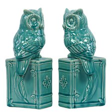 Ceramic Owl Book Ends (Set of 2)