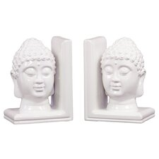 Ceramic Buddha Head Bookend Gloss Turquoise (Set of 2)