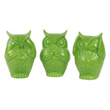 Ceramic Owl Three Piece Set