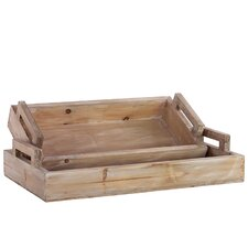 2 Piece Wooden Tray Set