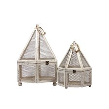 Wooden Hexagon Terrarium Set of Two (Set of 2)