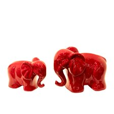 2 Piece Home and Garden Accents Elephant Figurine