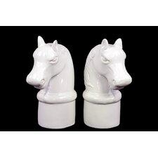Ceramic Horse Head Bookend (Set of 2)