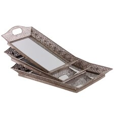 3 Piece Metal Pierced Mirror Tray Set