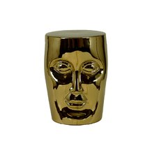 "18"" Gold Face Accent Ceramic Garden Stool"